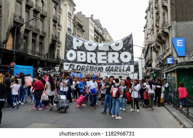 CABA, Buenos Aires, Argentina, 08-18-2018: Protest of workers in Entre Ríos street near the Congress building