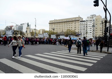 CABA, Buenos Aires, Argentina, 08-18-2018: Protest of workers in the two congresses square in front of the Congress building