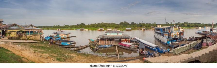 Caballococha, Peru - Dec 11, 2017: Cargo boat in the port on the Amazon river.