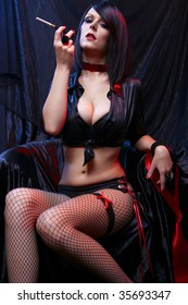Cabaret Sexy Lady In Black Lingerie Smoking Cigarette
