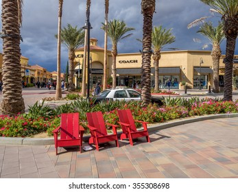 CABAZON, CA - NOV 2015: Desert Hills Premium Outlet Mall on November 15, 2015 in Cabazon California. Desert Hills Premium Outlet Mall is prime destination for tourists visiting Palm Springs.