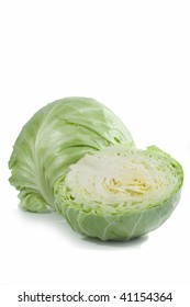 cabbage cut in half on white