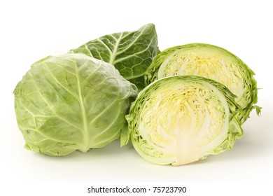 cabbage cut in half on white background