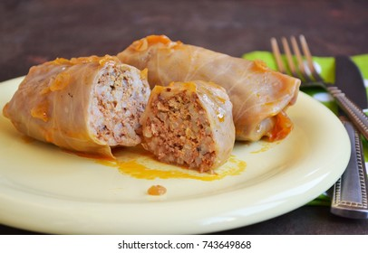 Cabbage rolls with meat and rice.