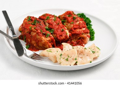 Cabbage Rolls and perogies