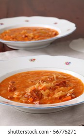 Cabbage soup made from sauerkraut with red pepper