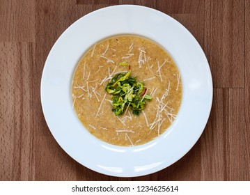 Cabbage soup with parmesan cheese