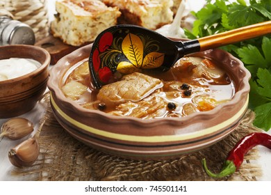 Cabbage soup and pie.Traditional russian cuisine