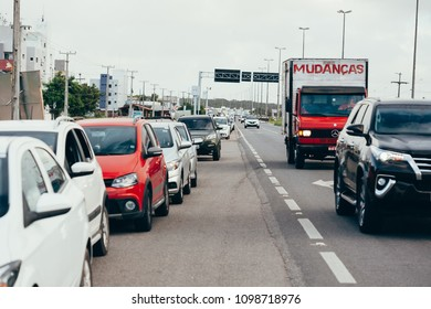 Cabedelo, Paraiba, Brazil - May 25, 2018 - Lack of fuel due to truck drivers strike generates queues of cars at gas stations