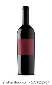 Cabernet sauvignon red wine with blank red label in black wine bottle isolated on white