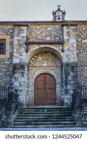 CABEZUELA DEL VALLE,JERTE VALLEY,CACERES,EXTREMADURA,SPAIN-MARCH,28,2017:Church of San Miguel Arcángel, in place of Hebrew synagogue