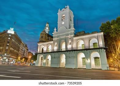 Cabildo building facade at night as seen from Plaza de Mayo
