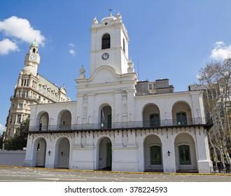 Cabildo building facade as seen from Plaza de Mayo. , Buenos Aires, Argentina
