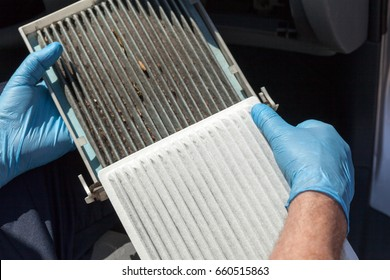 Cabin air filters, dirty and clean