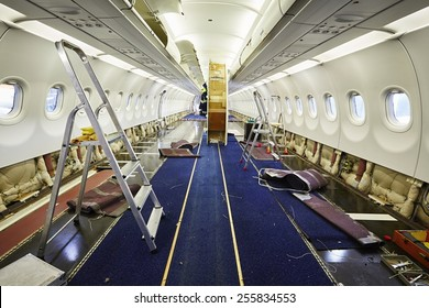Cabin of the airplane under heavy maintenance