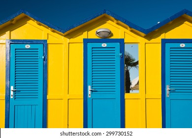 Cabin beach in Rimini, Adriatic sea