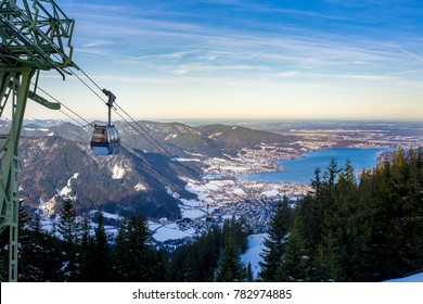 Cabin car over Tegernsee lake, seen from the top station of the Wallbergbahn, Germany