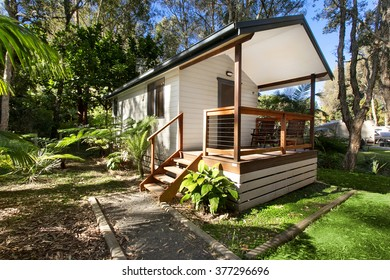 a cabin in a caravan park