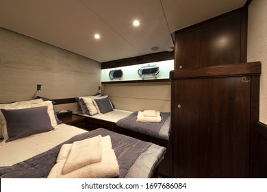Cabin of a classic motor yacht