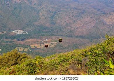 cabin of girnar ropeway. this is longest ropeway of asia located in gujarat.
