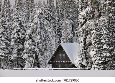Cabin in Grand Tetons National Park in Winter, Wyoming