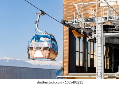 cabin lifts at a ski resort out of gondola station