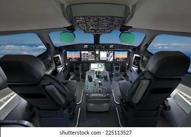 The cabin of the modern passenger airliner, nobody, autopilot, blue sky outside the window