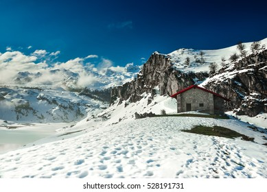 A cabin in the mountains of the Picos de Europa National Park, Asturias, Spain