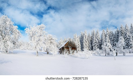 Cabin in the mountains in winter. Mysterious fog. In anticipation of holidays. Carpathians. Ukraine, Europe.