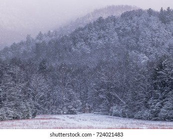 Cabin Nestled under a Snowy Mountain at Cades Cove in Smoky Mountain Nat'l Park
