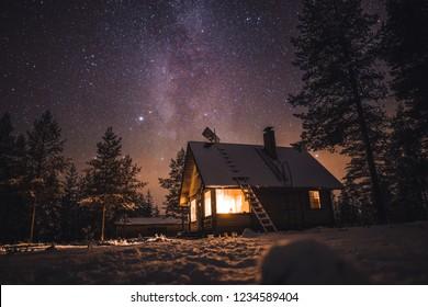 Cabin in night scene