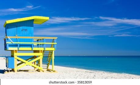 cabin on the beach, Miami Beach, Florida, USA