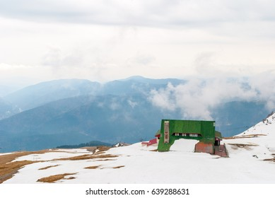 Cabin on top of the mountain in winter.