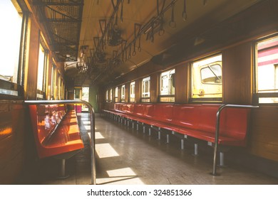 Cabin of a Public Thai Train Railway with seat , process in vintage style. This is a public train Does not require a property release.