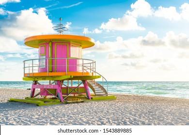 cabin at sunrise on the Miami Beach, Florida, USA