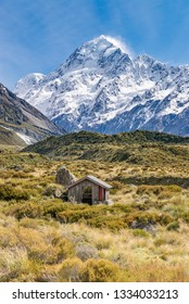 Cabin with a view, Hooker Valley Trail, Otago, New Zealand.