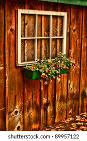 cabin window with flowers
