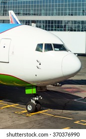 Cabine of the aircraft standing in the airport and waiting boarding passengers