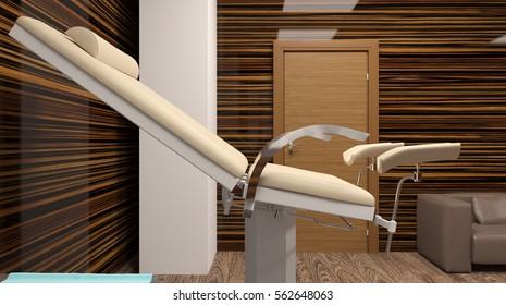 Cabinet Gynecology. Hospital. 3D rendering
