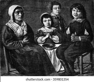 Cabinet of Mr. Eugene Hamot, The Benedicite by Lenain, vintage engraved illustration. Magasin Pittoresque 1876.