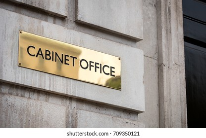 The Cabinet Office, Whitehall, Westminster. A sign outside the UK government building for the Cabinet Office on London's Whitehall.
