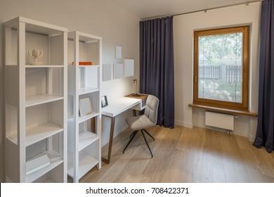 Cabinet, work room, work desk. Interior and design.