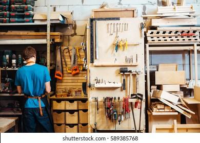 Cabinetmaker choosing tools for work