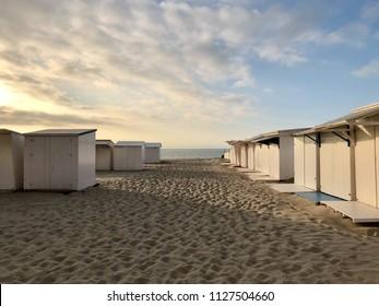 Cabins at the beach in Blankenberge, Belgium.