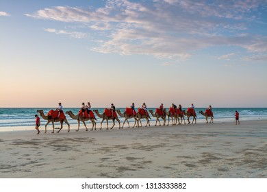 Cable Beach, Broome / Australia - 11/22/2014 People riding Camels on Cable Beach on a beautiful summers evening