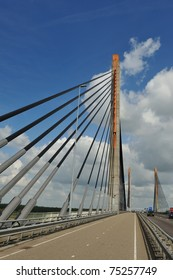 A cable bridge with the name Martinus Nijhoff in Zaltbommel, the Netherlands
