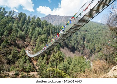 The cable bridge on the way to Namche Bazaar in Himalayas. Everest base camp trek in Nepal.
