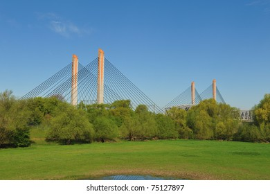 A cable bridge in Zaltbommel, the Netherlands during spring