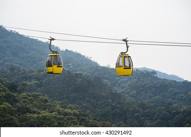 Cable car above hill forest