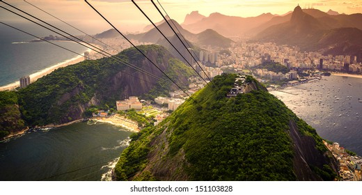 Cable car approaching Sugarloaf Mountain, Urca, Rio de Janeiro, Brazil